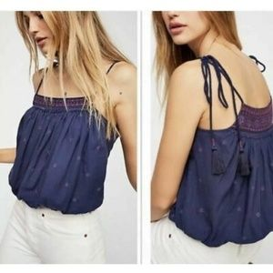 Free People Eternal Love Navy Embroidered Top